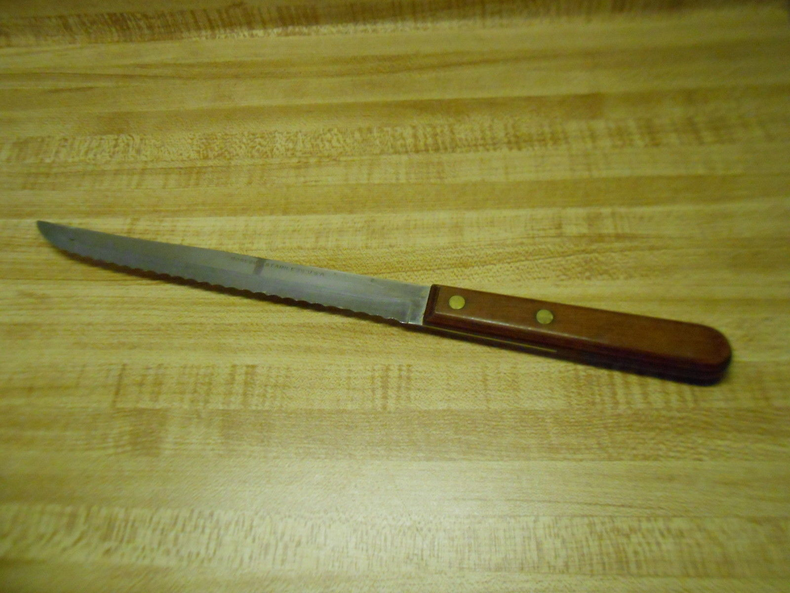 old kitchen knife robeson stainless usa wooden handle