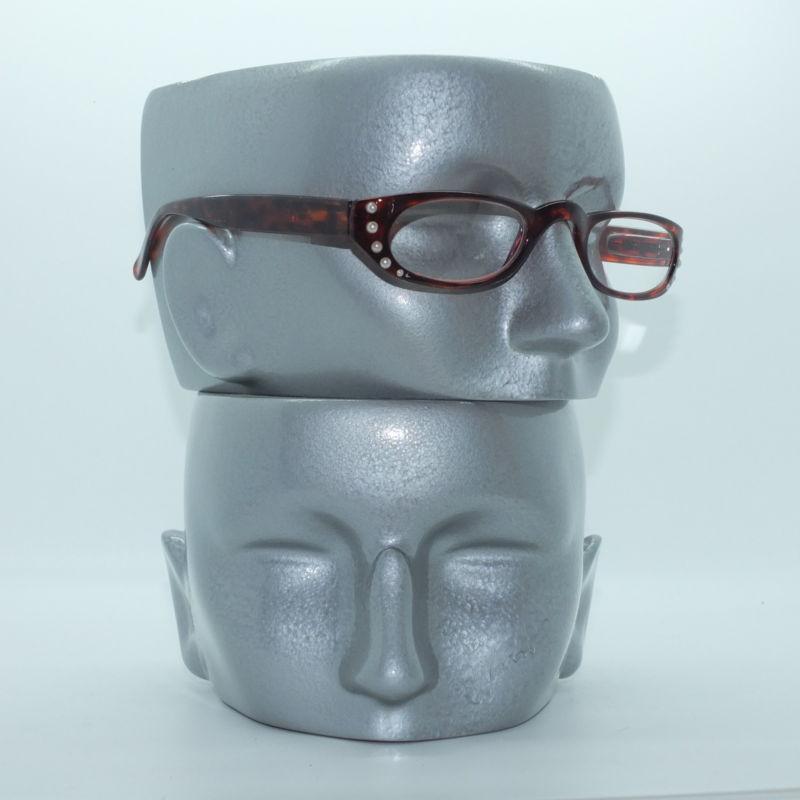 Narrow Frame Reading Glasses : Pearl Bling Trim Tortoise Brown Narrow Half Eye Frame ...