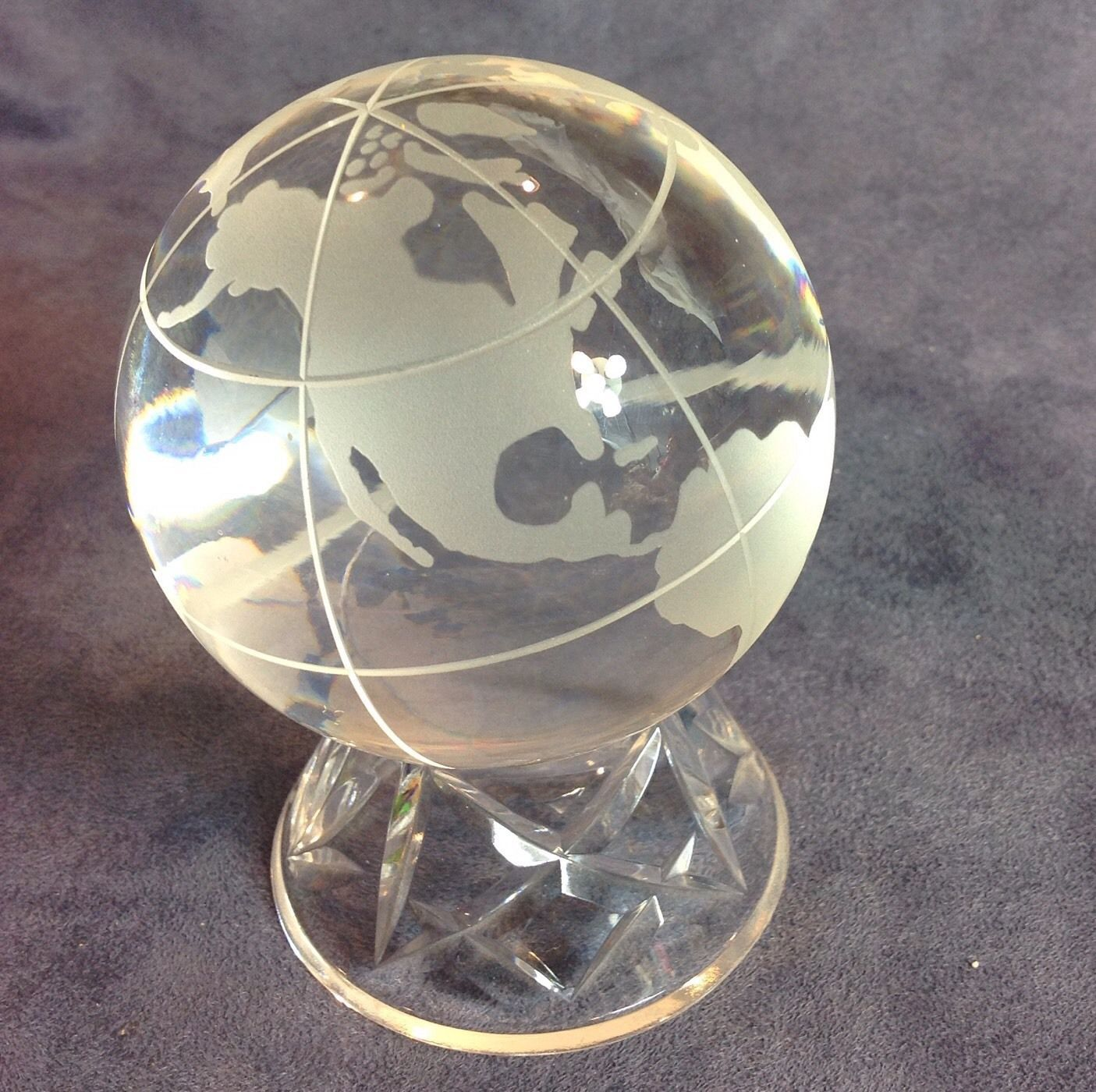 Cavan ireland cut crystal globe frosted world paper weight for Cava cristal