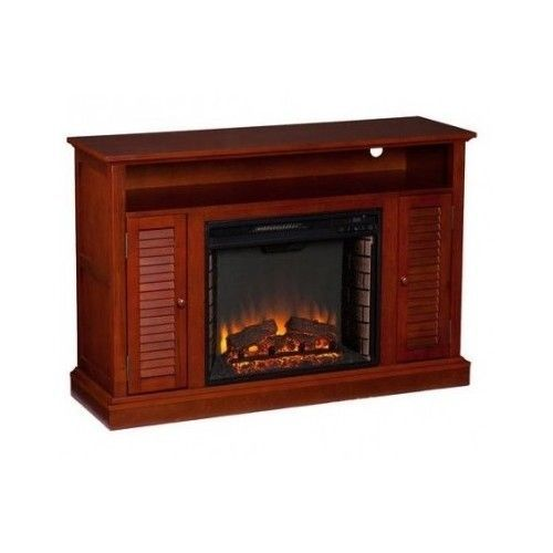 electric fireplace tv stand mahogany modern sleek cabinets