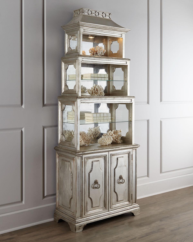 silver leaf pagoda etagere bookcase hollywood regency. Black Bedroom Furniture Sets. Home Design Ideas