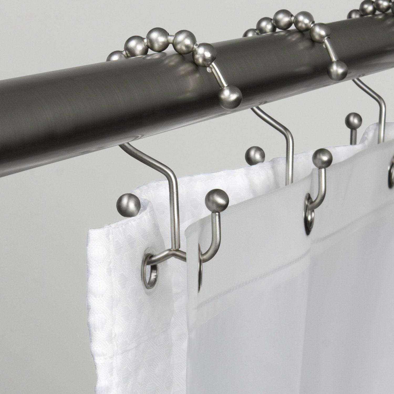 Shower Curtain Rings Hook Silver Brushed Metal Rod Vintage Bathroom ...