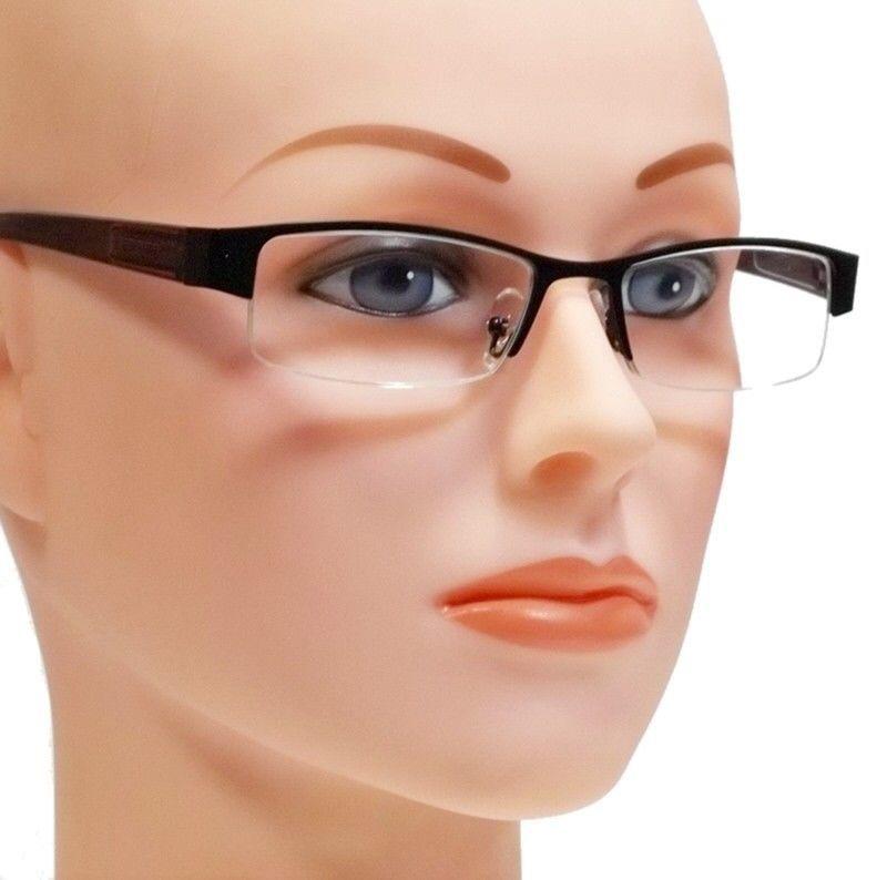 Optical Reading Glasses Rectangular Brown Black Metal HALF ...