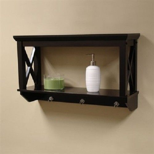 Bathroom Cubby Shelf: NEW Expresso Bathroom Wall Shelf Storage Decor Hooks