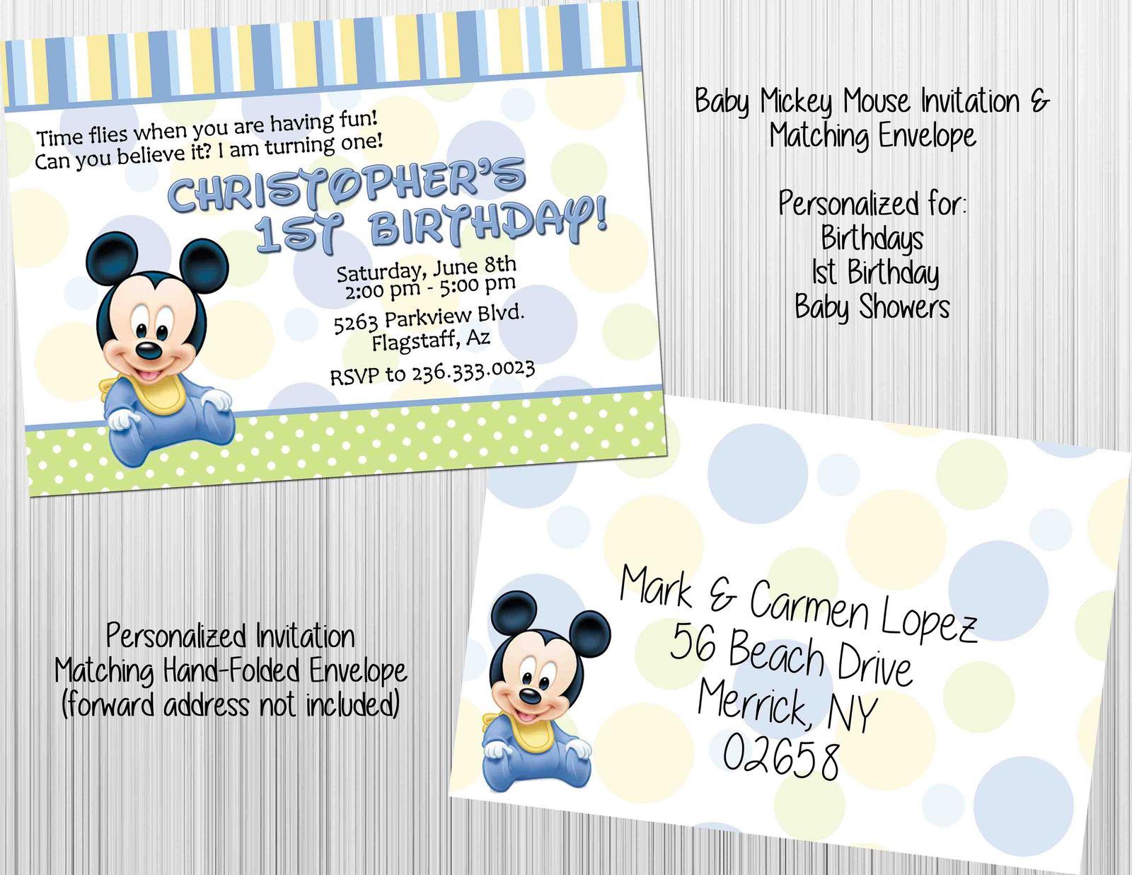 baby mickey mouse invitation set envelopes birthday baby shower