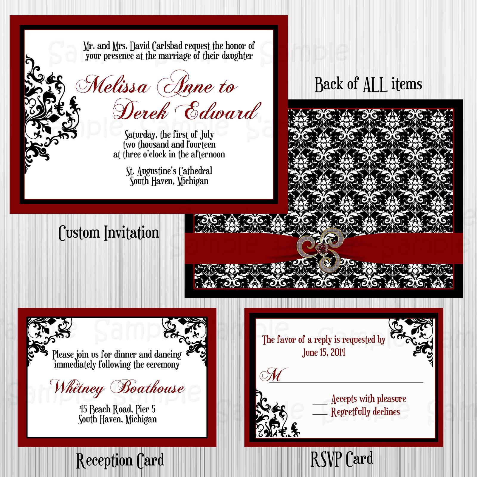 damask wedding invitation set rsvp card invitation invitations