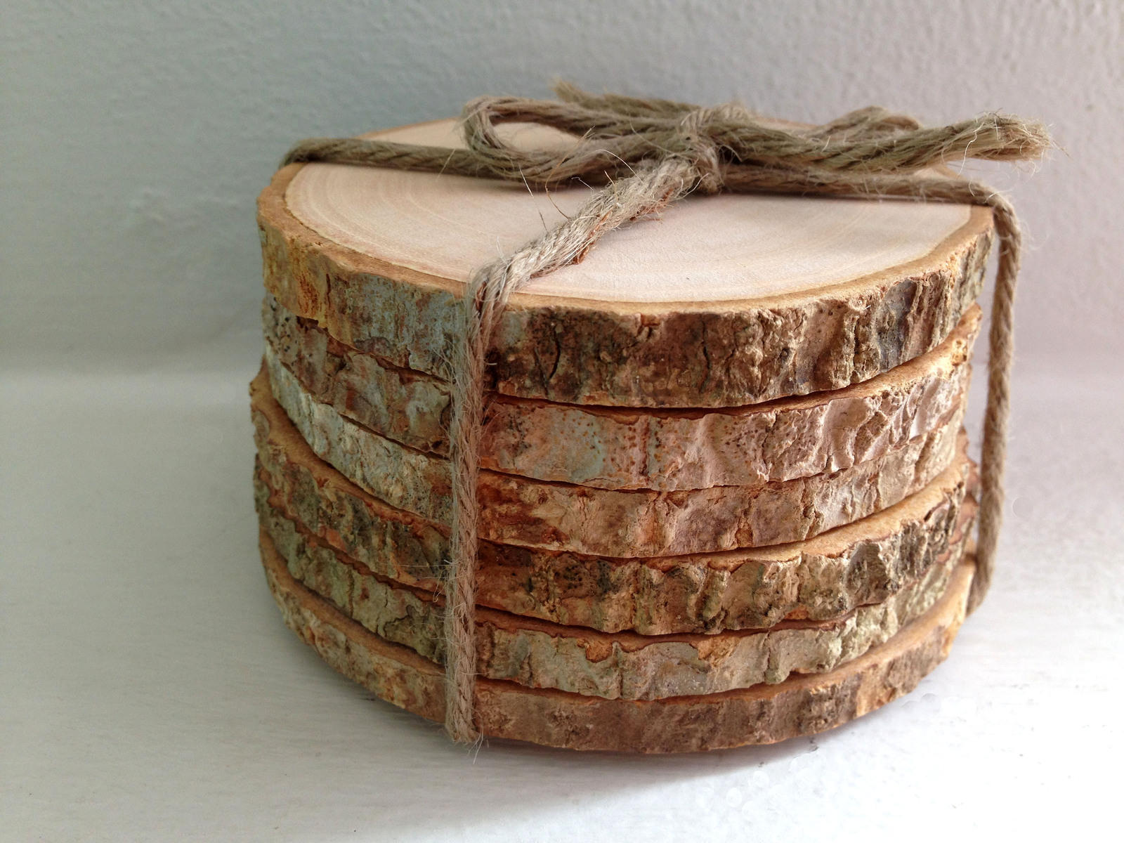 Rustic tree bark coaster set of 6 tree bark wood slice for Wood trunk slices