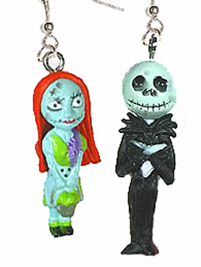 JACK SKELLINGTON & SALLY EARRINGS-Funky Novelty Gothic Jewelry-B