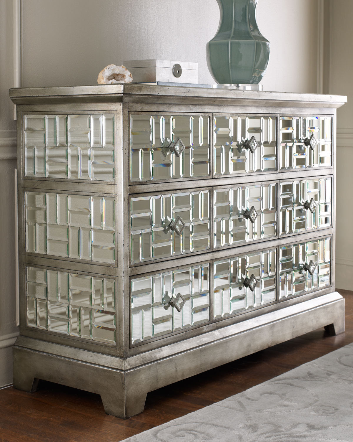 Mirrored Furniture: GATSBY BEVELED MIRRORED CHEST, 5 Drawer, HOLLYWOOD REGENCY