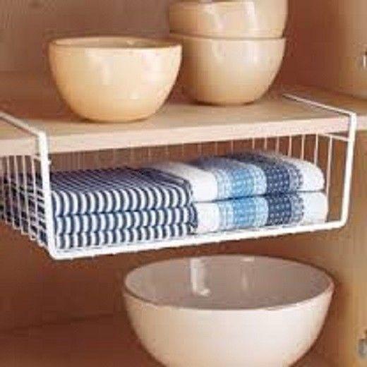 White Under Shelf Basket Wire Wrap Rack Storage Organizer