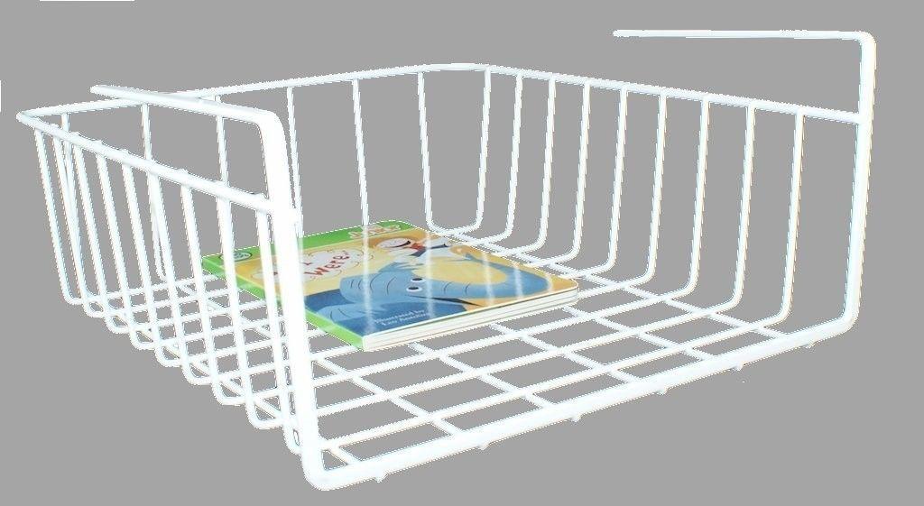 White under shelf basket wire wrap rack storage organizer for Under cabinet storage racks