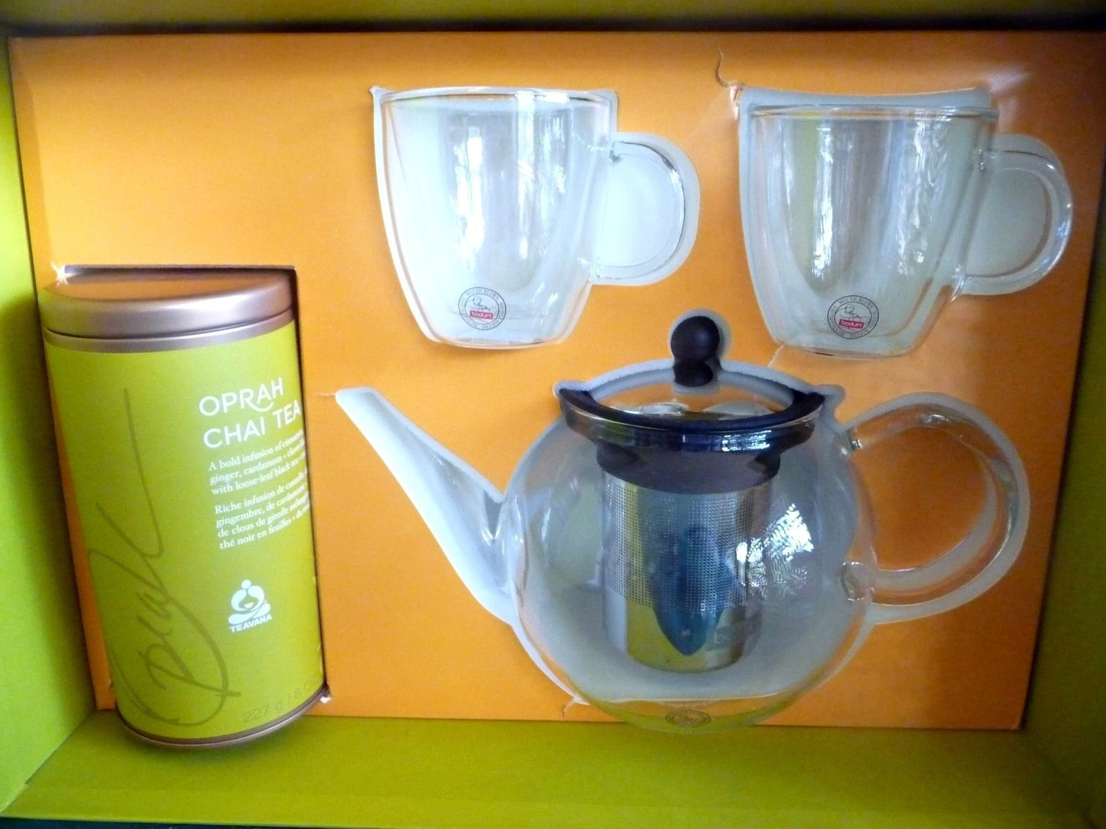 Starbucks teavana oprah chai tea infuse inspiration set bodum mugs tea pot starbucks - Teavana glass teapot ...