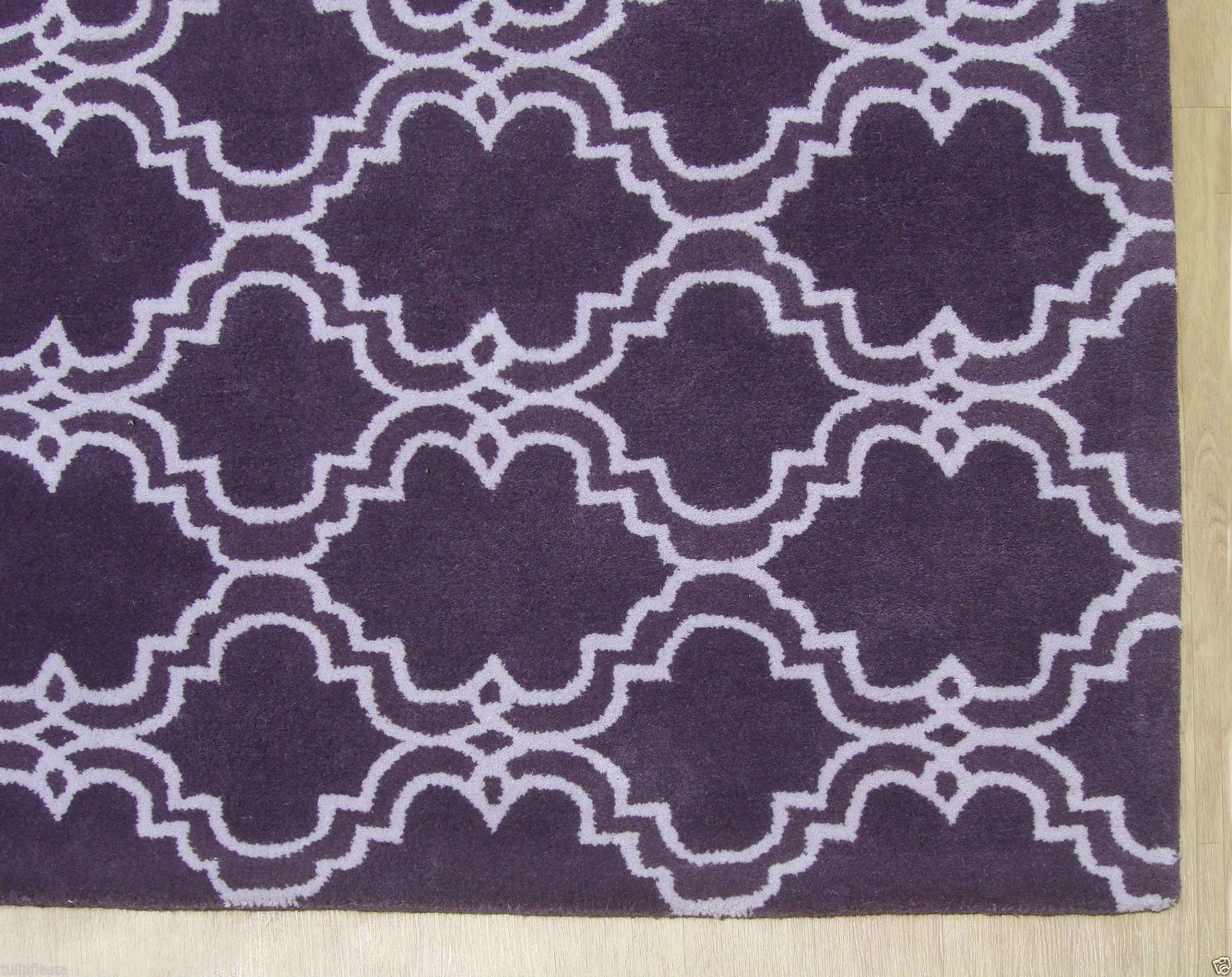 French accent scroll tile purple 9x12 handmade persian for Rugs with purple accents