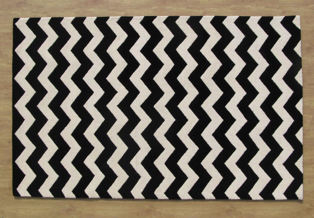 Large Black And White Area Rugs: Large Hand Tufted Chevron Black And White 9' X 12