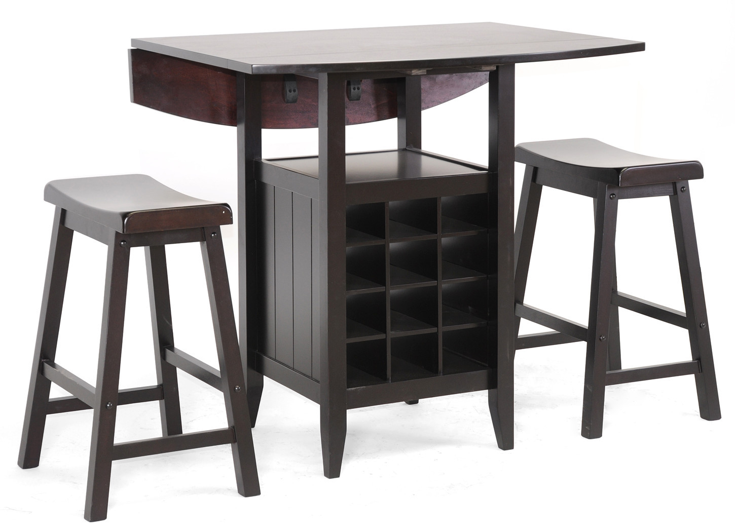 Superb img of Wooden Pub Table Set 3 Piece Saddle Bar Stools Dining Furniture Wine  with #594C4E color and 1450x1050 pixels