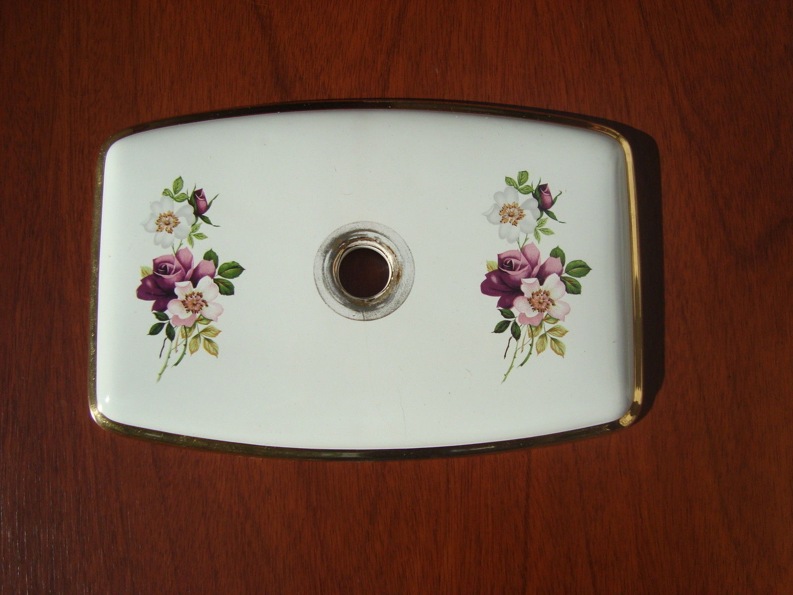 edwardian flower gold antique porcelain toilet lid cistern embed tank