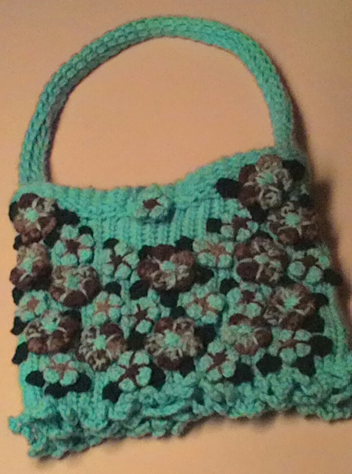 New Crochet Bags : New-Crochet Purse-W/Flowers-Lined-Retro Style - Handbags & Purses