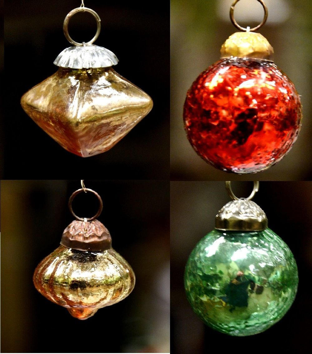 Mini glass ball bauble christmas tree ornament from india for Small gold christmas ornaments