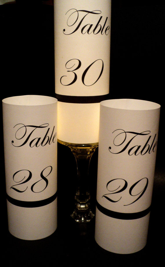 Wedding Table Luminary Numbers Centerpieces Venue Custom