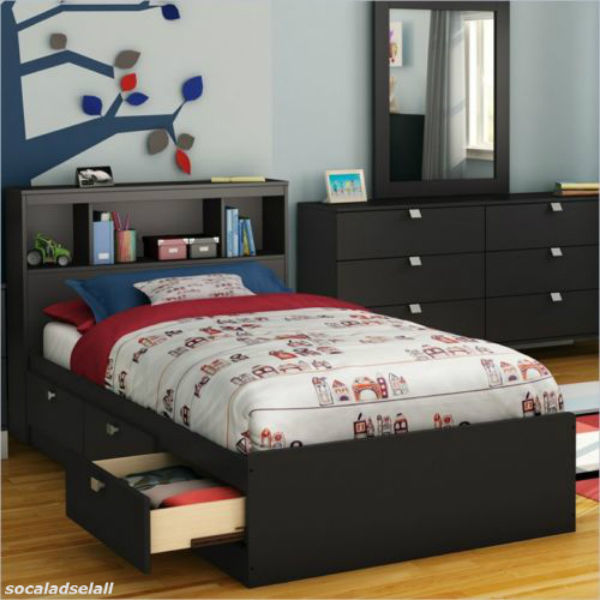 Twin Size Bed Frame Storage Bookcase Headboard Modern