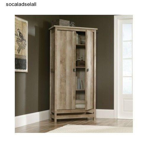 Wood storage cabinet tall wardrobe shelf kitchen pantry for Kitchen wardrobe cabinet