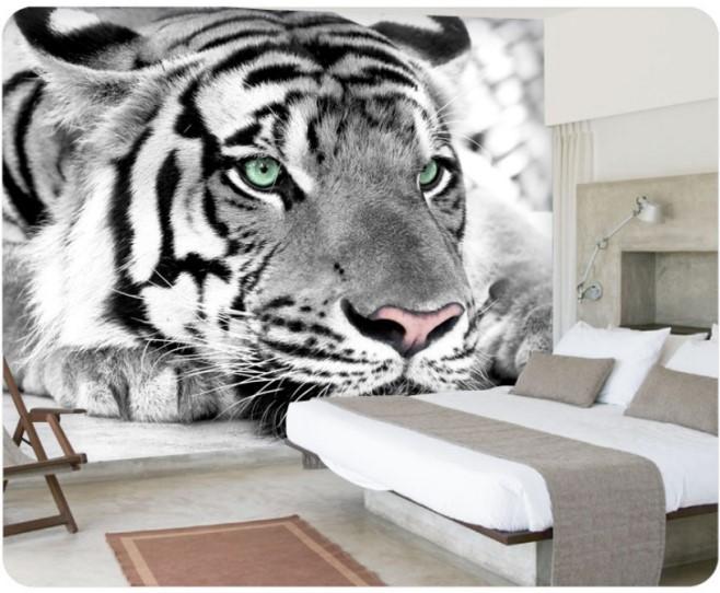 gorgeous 3d white tiger face design wallpaper mural wall