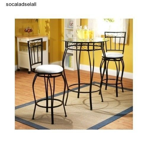 round pub table set 3 piece bistro counter height bar dining kitchen
