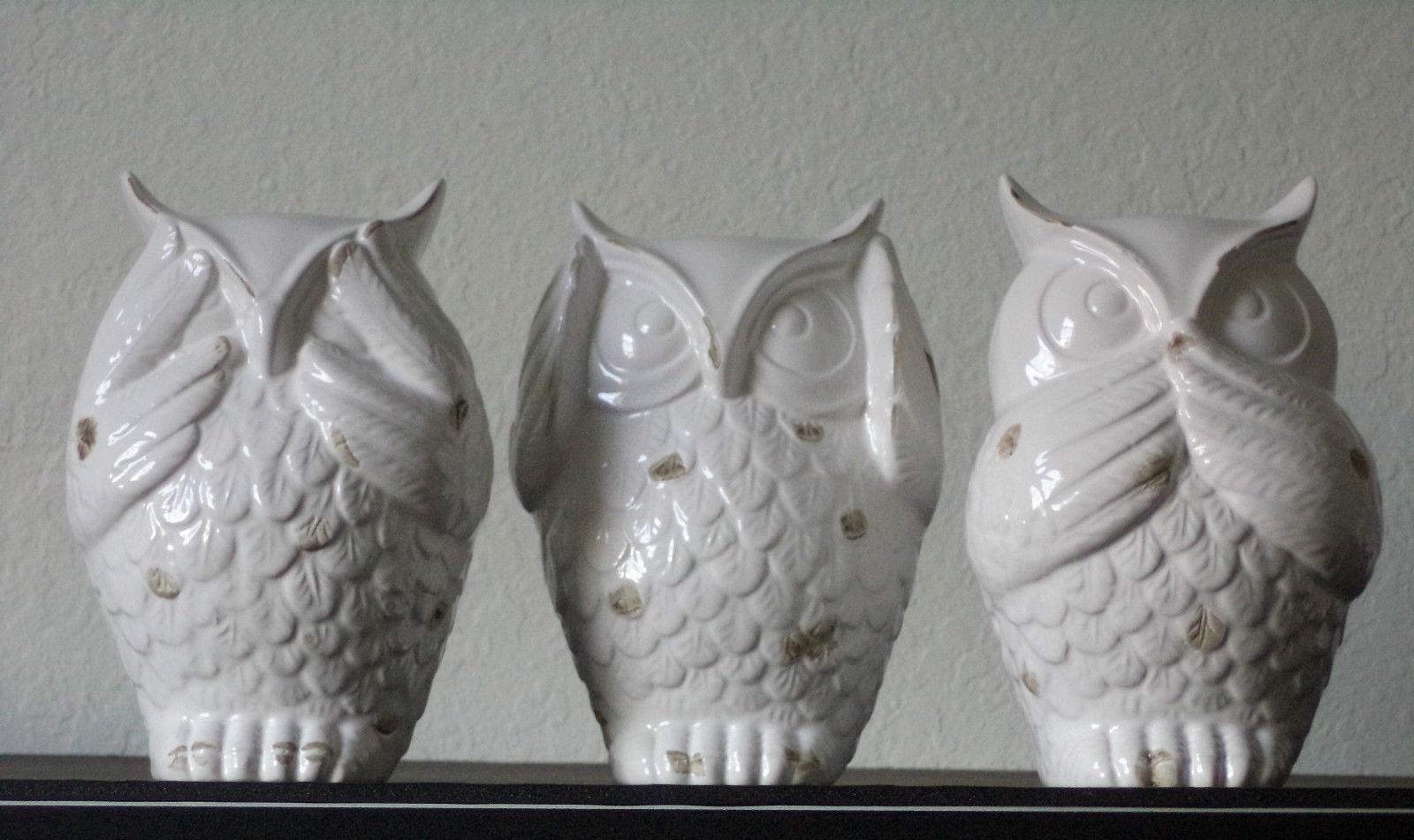 New See Hear Speak No Evil Wise Owl Statutes Bird Ceramic