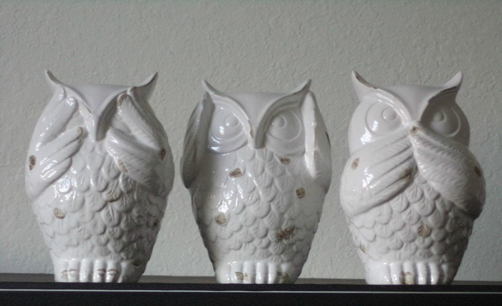 New see hear speak no evil wise owl statutes bird ceramic white home decor figurines - Hear no evil owls ceramic ...