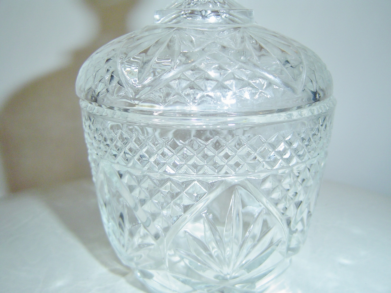 Vintage eapg clear pressed glass sugar bowl creamer