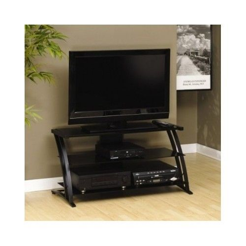 tv stand black 32 55 inch entertainment cd stereo flat screen room video games entertainment. Black Bedroom Furniture Sets. Home Design Ideas