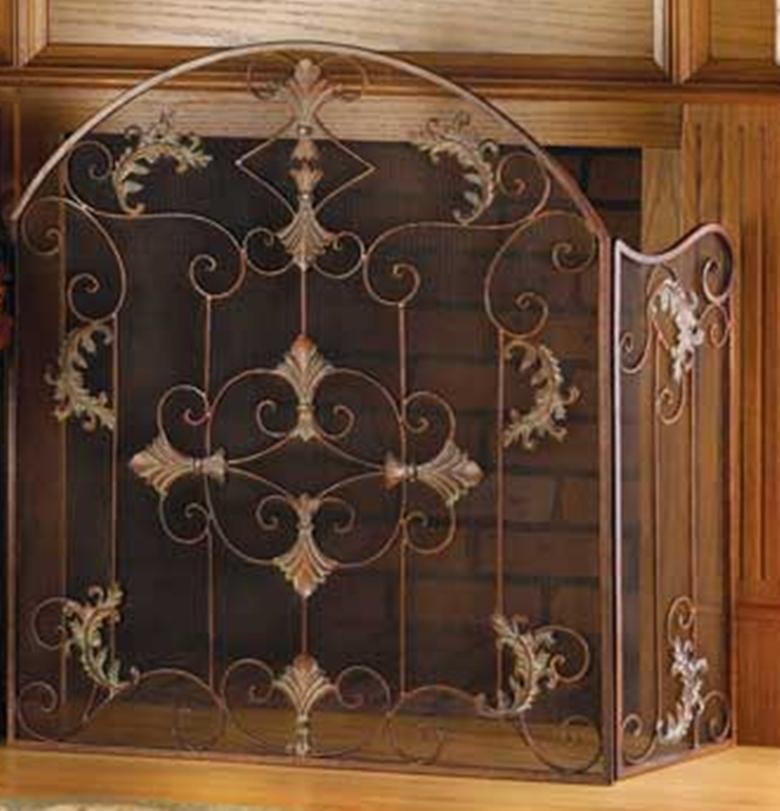 Fireplace Screen Wrought Iron Tri Fold Italian Florentine Design Fireplace Screens Doors