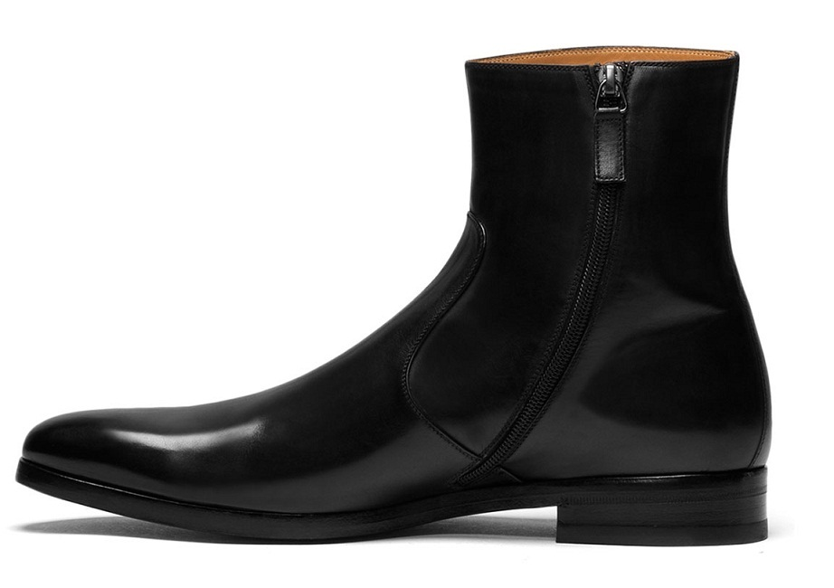 handmade side zipper ankle leather boots mens black