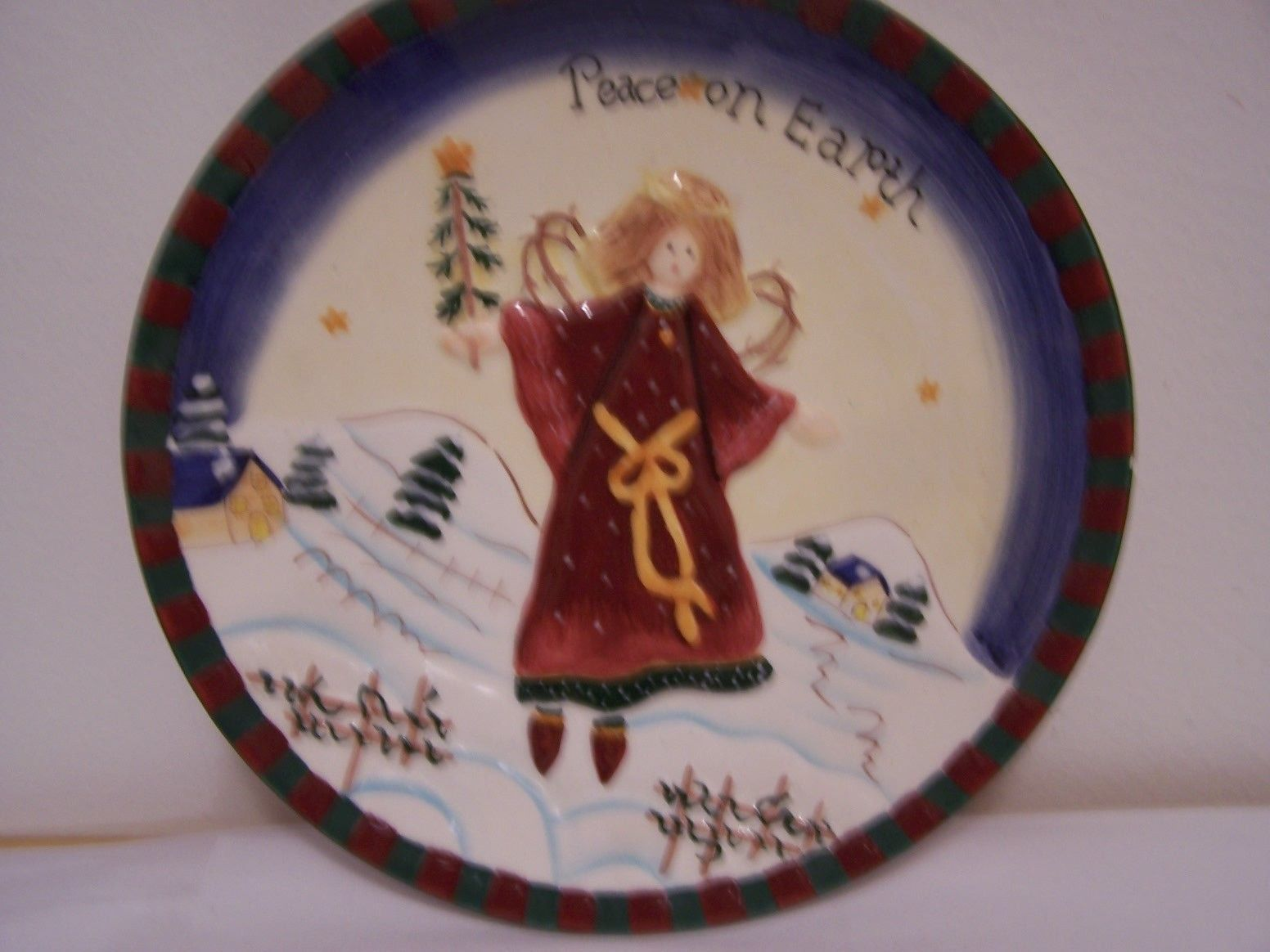 Decorative Wall Plates Nz : Christmas plate peace on earth angel snow trees party wall