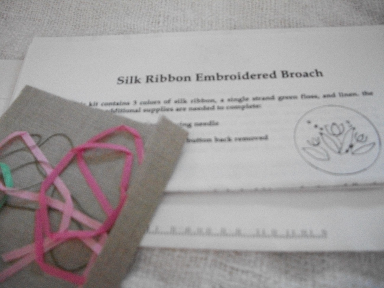 Silk ribbon embroidered broach kit embroidery