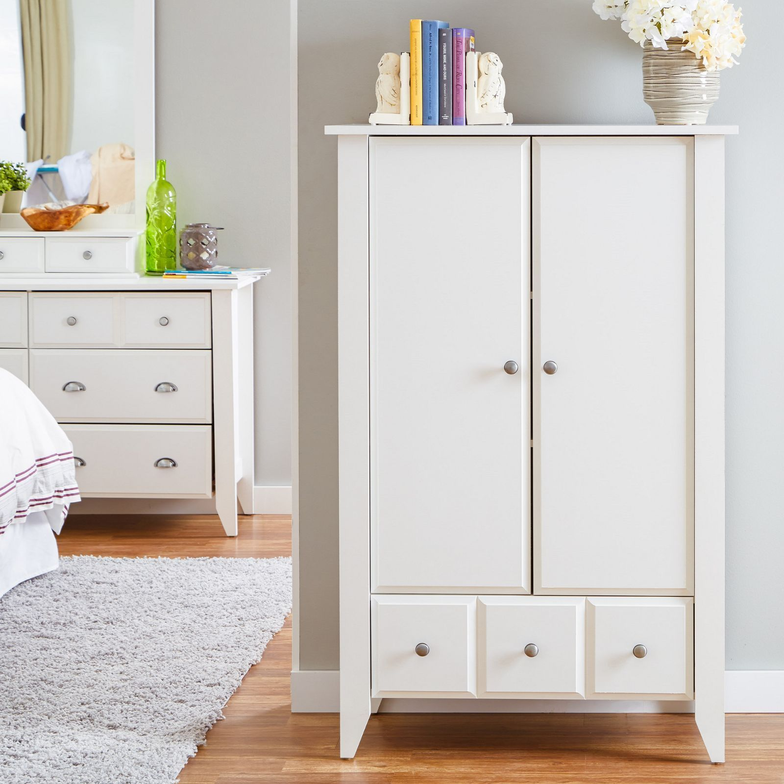 Marvelous photograph of Armoire White Wooden Wardrobe Clothes Closet Bedroom Furniture Decor  with #8CAF1C color and 1600x1600 pixels