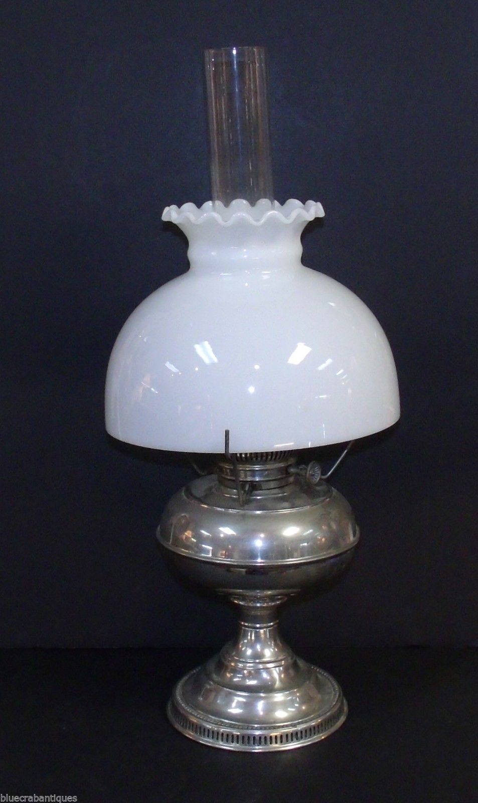rayo hurricane nickel oil lamp with white glass shade. Black Bedroom Furniture Sets. Home Design Ideas