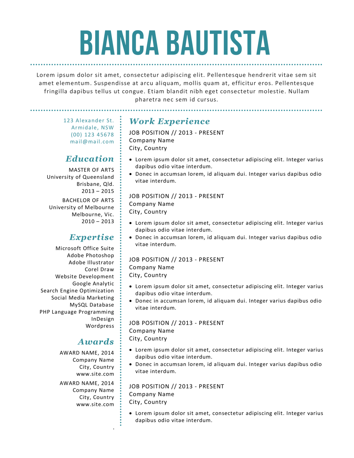 simple modern resume template pack for ms word docx digital goods