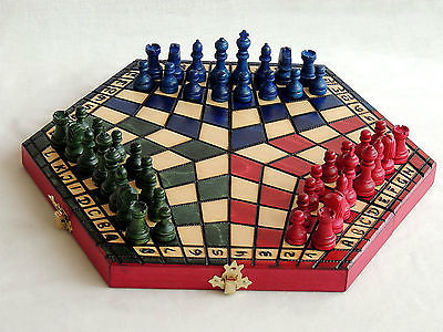 Brand New Three Player Wooden Chess Set Pre 1970