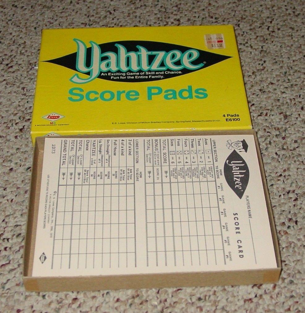 Yahtzee 4 Score Pads 1973 Es Lowe 80 Unused Sheets Yahtzee Dice Games