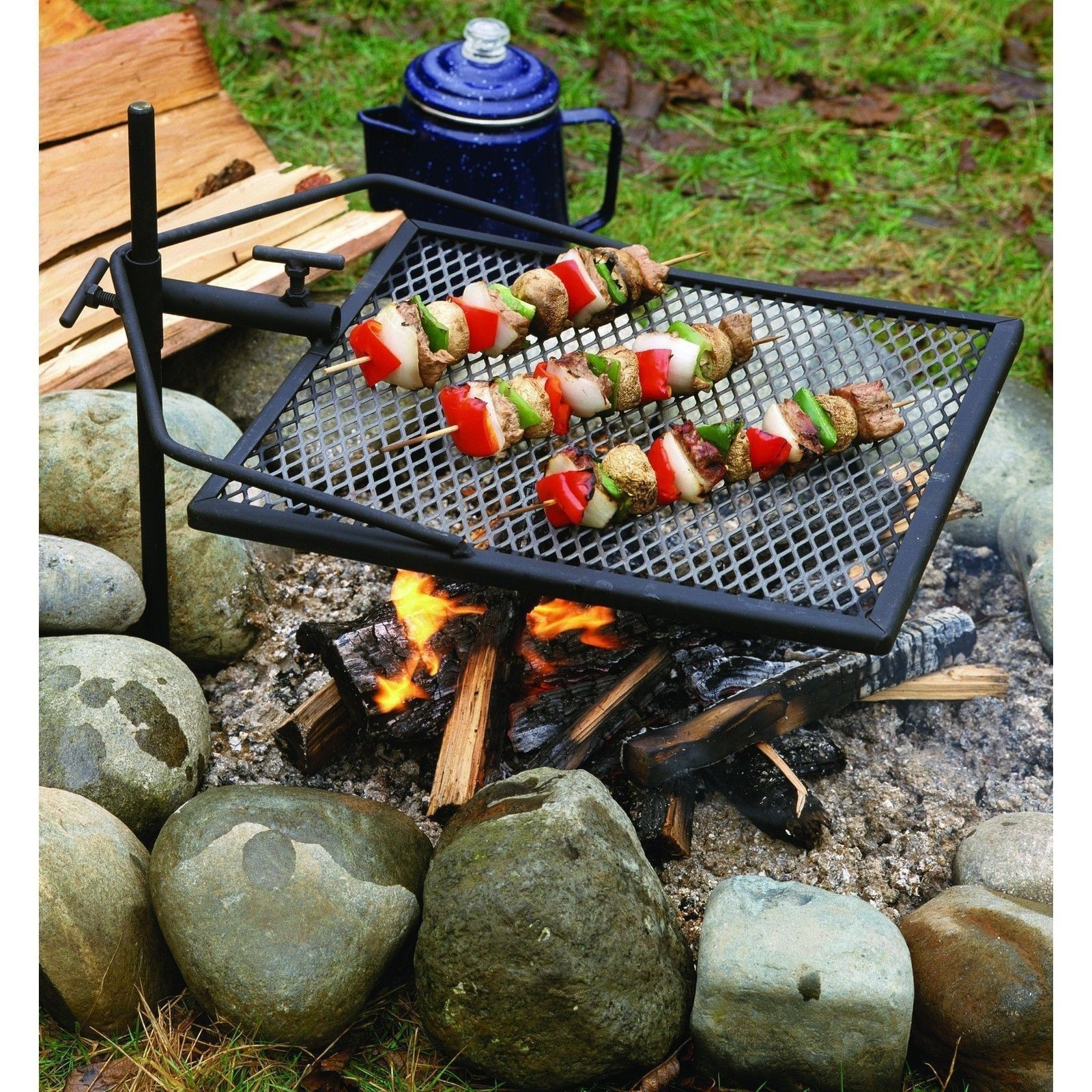 Portable Grill Adjustable Camping Equipment Campfire