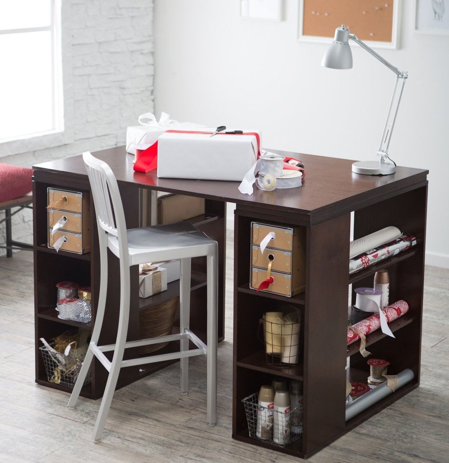 ? whyandyks booth ? Counter Height Desk Espresso Furniture Office ...
