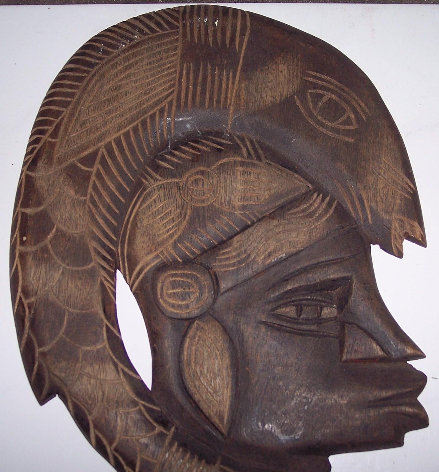 Signed african hand carved taverneau wood quot face mask