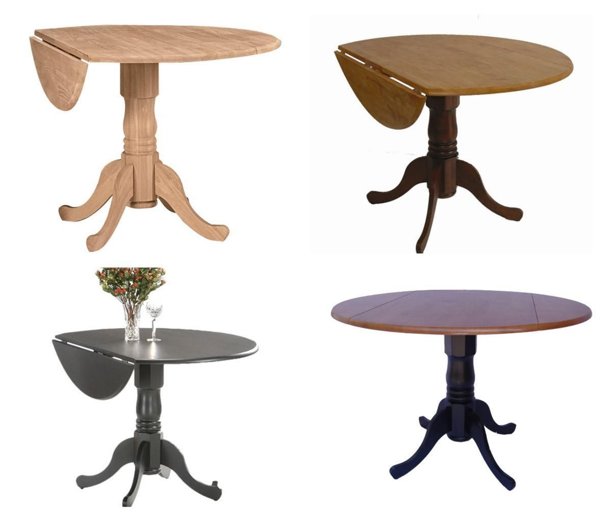 round 42 parawood dural drop leaf solid dining room table tables