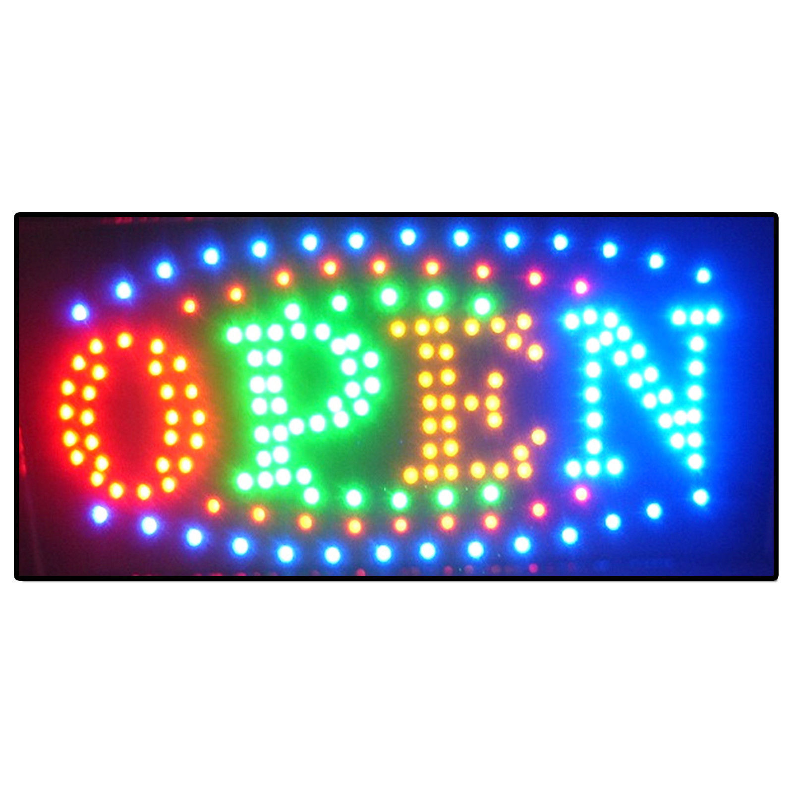 led store business open sign neon bright light window display color. Black Bedroom Furniture Sets. Home Design Ideas