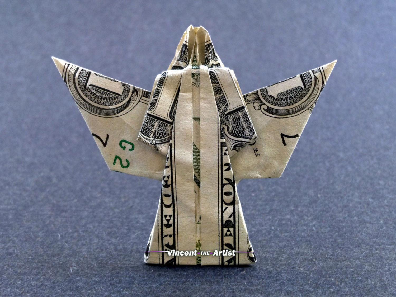 Money Origami ANGEL - Dollar Bill Art - Made with $1.00 ... - photo#41