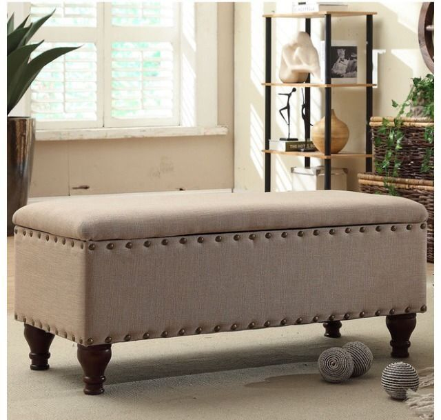 Bench Seating Furniture Entryway Bedroom Accent Nailhead Benches