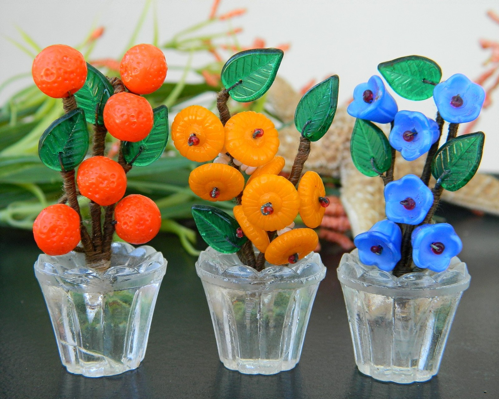 Vintage Art Glass Flower Pots Place Card Holders Box Set 6 ...