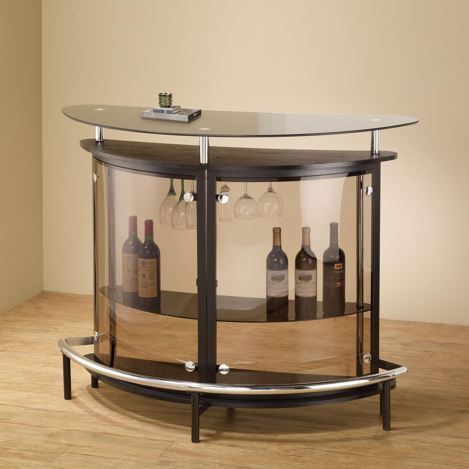 Home Mini Bar Stand Table Unit Footrest Tinted Glass Brown