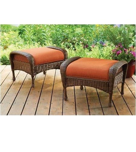 Outdoor Wicker Ottoman All Weather Patio Furniture Garden